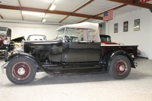 1929 Ford Roadster Pickup Resto-Mod. Ford 4 Cylinder with OHV Cragar head, dual carbs, modern 5 speed manual, and tastefully customized. Toured in Europe twice and Australia once! Excellent high quality work! $33,500 COMING SOON